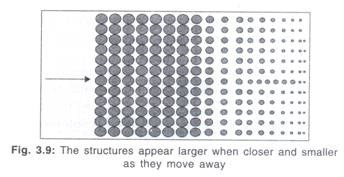 The Structures Appear Larger When Closer and Smaller as they Move Away